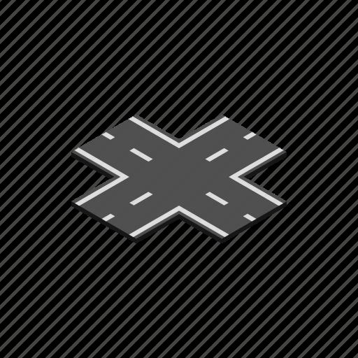 crossroad, direction, isometric, path, road, traffic, way icon