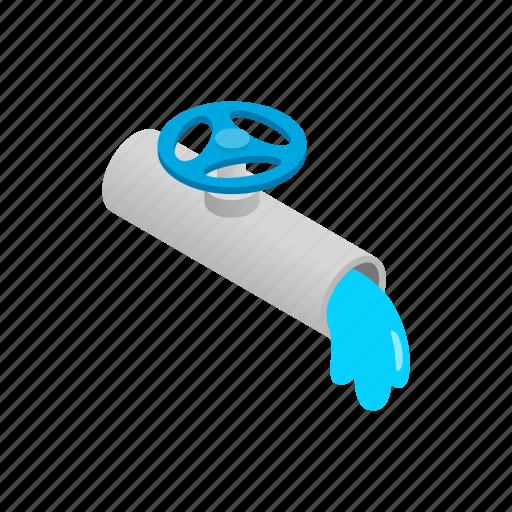isometric, metal, pipe, pipeline, tube, valve, water icon