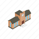 architecture, building, clock, college, education, isometric, school icon