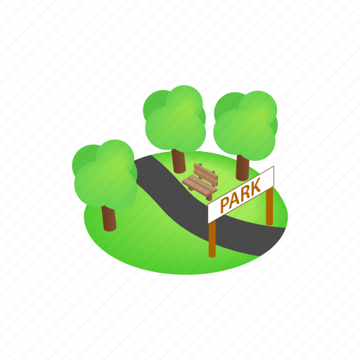 grass, isometric, landscape, nature, outdoor, park, tree icon