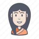 female, girl, saree, woman icon