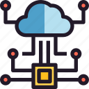 cloud, network, solution, storage, technology icon