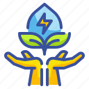 electric, hand, innovative, leave, technoloy icon