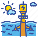 ecology, innovative, power, water, wave icon