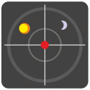 aim, moon, space, sun, target icon