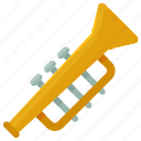 instrument, music, musical, play, sound, trumpet icon