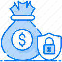 finance safety, money protection, money insurance, income protection, asset protection, save money icon