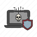 computer, crime, cyber crime, insurance, liability, protection, shield icon