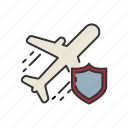 fly, insurance, plane, protection, shield, travel