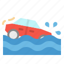 accident, car, flood, insurance icon