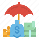 bag, insurance, money, safe, umbrella icon