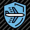 airport, flight, insurance, plane, safe icon