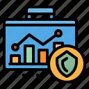 briefcase, data, graph, research icon