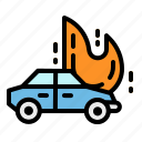 accident, car, fire, flame, insurance icon
