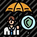 insurance, man, safe, sell, umbrella