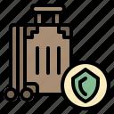 insurance, luggage, shield, suitcase, travel icon