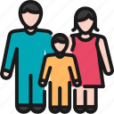 child, family, healthcare, insurance, man, protection, woman icon