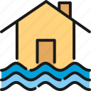 damage, disaster, flood, home, house, insurance, water icon