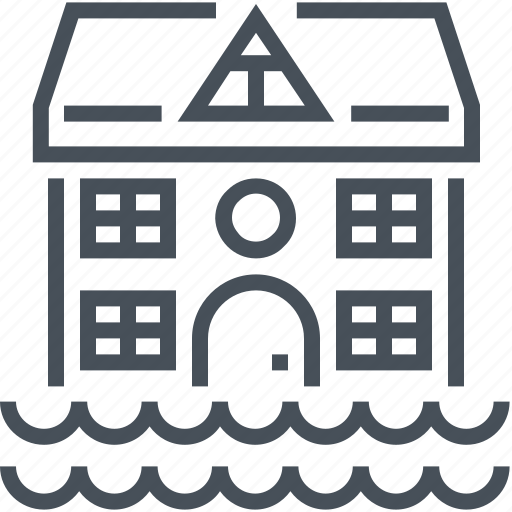 disaster, flood, home, house, insurance, protection, water icon