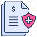 document, health, insurance, medical, paper, policy, protection icon