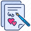 agreement, contract, document, letter, love, marriage, marriage contract icon