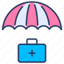 bag, health, insurance, insurance compney, insurance service, medical, umbrella icon