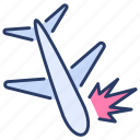air, airplane, crash, aircraft, plane, burning, air crash icon