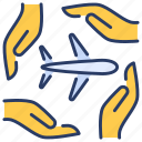 airplane, aviation insurance, flight, flight insurance, flight protection, flight safety, travel insurance icon