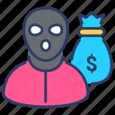 bank, money, money theft, payment, theft, vandalism icon
