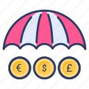 business, finance, income insurance, insurance, umbrella icon