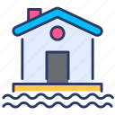 deluge, doomsday, flood, home, house, inundation, water icon