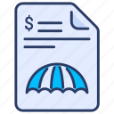 contract, insurance, policy, protection, secure, security, umbrella icon