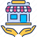 insurance, protection, security, shield, shop, shopping, store icon