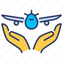 aviations, care, flight, protection, secure, tourism, travel icon
