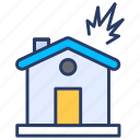 building, estate, explode, explosion, fire, home, house icon