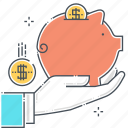 assurance, investment protection, personal valuables, piggy bank, save money, savings icon