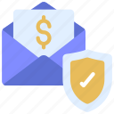 paycheck, insured, email, money icon
