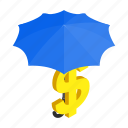 bank, dollar, finance, isometric, protection, sign, umbrella icon
