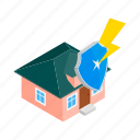 home, house, insurance, isometric, lock, protection, shield icon