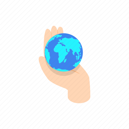 earth, globe, hand, holding, insurance, isometric, network icon