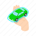 auto, car, concept, hand, isometric, style, vehicle icon