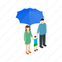 family, isometric, people, protect, protection, sign, umbrella icon