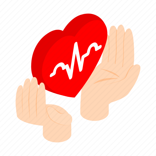cardiogram, hand, health, heart, protect, protection, sign icon