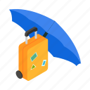 isometric, umbrella, luggage, travel, protection, under, insurance