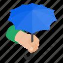 background, concept, graphic, hand, holding, isometric, umbrella icon