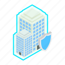 building, insurance, isometric, lock, protection, security, shield icon