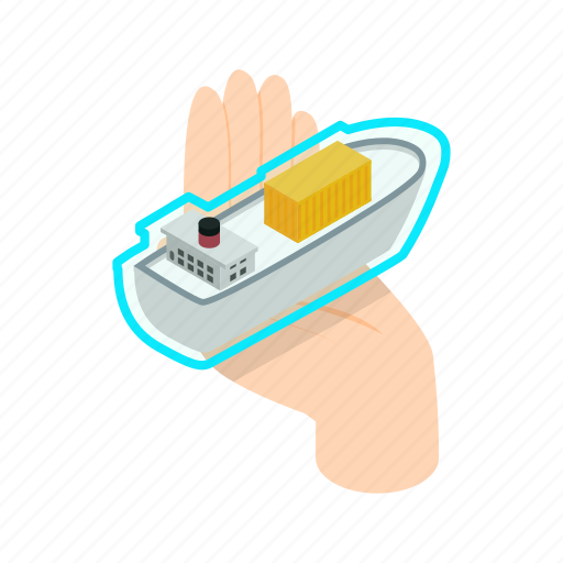 boat, hand, holding, insurance, isometric, ship, sign icon