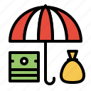asset, finance, insurance, protection, umbrella icon
