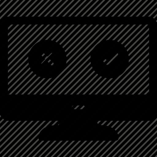 computer, cross mark, lcd, selection, tick mark icon