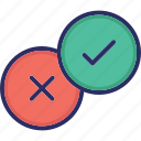 choice, cross mark, decision, tick mark, vote icon